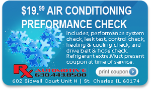 Air Conditioning Preformance Check Special Coupon for Rx Automotive Repair in St. Charles, IL