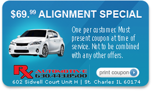 Vechicle Alignment Special Coupon for Rx Automotive Repair in St. Charles, IL