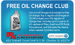 Free Oil Change Club Coupon for Rx Automotive Repair in St. Charles, IL