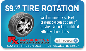Tire Rotation Coupon for Rx Automotive Repair in St. Charles, IL